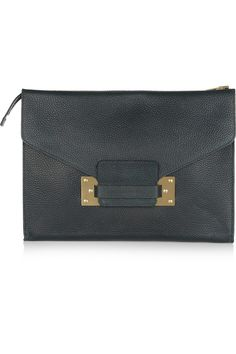 Sophie Hulme|Envelope oversized textured-leather clutch|