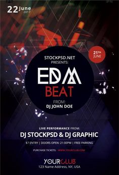EDM Beat is a Free Photoshop PSD Flyer Template to Download. This PSD File iswith alternative colors and in print-ready. EDM BeatFlyeris in PSD Editable Format that comes with 300dpi resolution.  This flyer is suitable to use for any EDM Party, Event or Club Party.   #Beat #EDM #flyer #free #PSD #template Free Psd Flyer Templates, Flyer Free, Dj John, Club Parties, Free Photoshop, Party Flyer, Free Resume, Edm, Sample Resume