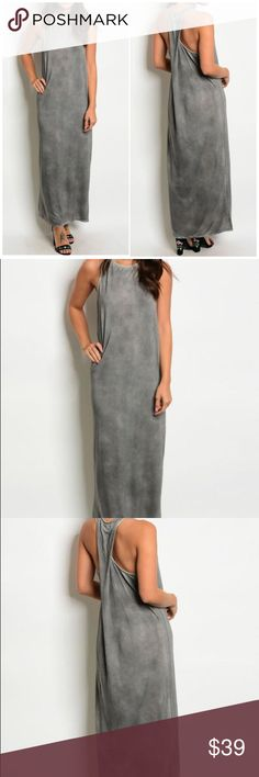 """Gray Acid Wash Twist Back Maxi Dress Gray Acid Wash Twist Back Maxi Dress featuring a round neckline.   65% polyester; 35% rayon  Description for small: Length: 53"""" Bust: 30"""" Waist: 30""""  Fits true to size Fabfindz Dresses Maxi"""