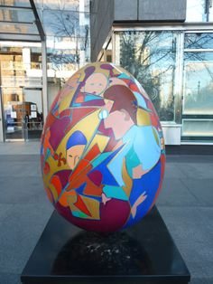 Egg #103 was designed by Kayti Didriksen. I found it at Columbus Circle in front of the Time-Warner Building. The design is an example of the EGGstra special performance by the Brooklyn Symphony. As of this writing it was selling at auction for $600.
