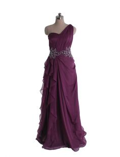 Elegant one shoulder chiffon gown