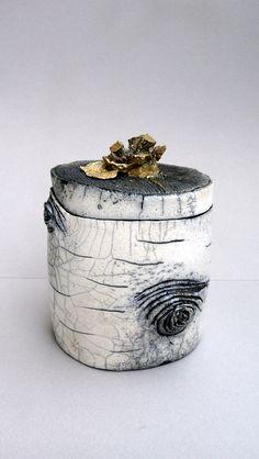 Céramique raku - boîte bouleau - Catherine Haubois - Clermont-Ferrand