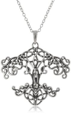 """awesome Sterling Silver Oxidized Celtic Knot Tree of Life Pendant Necklace, 18"""""""