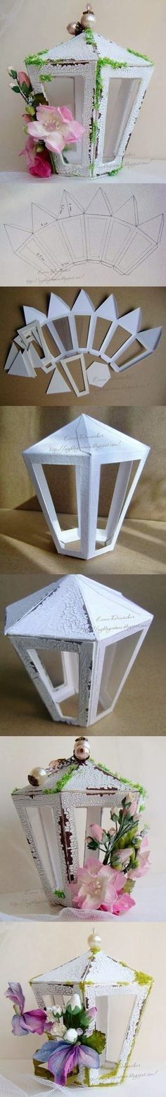 DIY Paper Lantern! Free Pattern...Use Poster Board, Crackle Paint, & Decorations To Make This Cute Lantern...You Can Change Out The Decorations For Various Holidays To Use Throughout The Year...Click On Picture To Link...(NOTE: Link Is In French So You May Need To Use Google Or Bing To Translate It)...