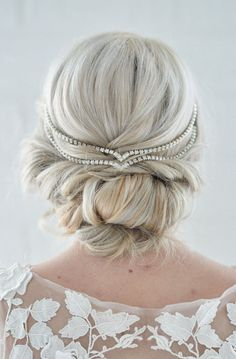 Lovely Clusters - Online Curator : Hair Jewelry Wedding Head Chain Unique Bridal Headpiece Draped