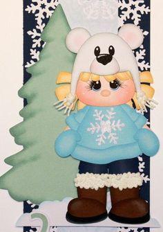ELITE4U Winter LIttle Girl Paper Piecing For Scrapbook Page