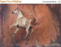 Check out Studio Clearance Sale by EvaVolfSeascapes.etsy.com Find a #painting you'll love https://www.etsy.com/listing/252170923/horse-art-white-horse-painting-horse