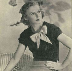 Early 1930s knitted lace jumper with bow, Lux c. 1934 - Vintage Knitting Pattern PDF (312)