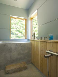 Japanese Soaking Tub Bathroom Contemporary with Bathroom Beige Floor Cabin Concrete Tub Deep