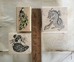 Japanese Rubber Stamp Collection Lot of 3 by Museandmiscellany