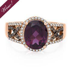 Rhodolite Garnet & 1/3 ct. tw. Diamond Ring in 14K Gold