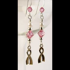 Crystal Pearl Pink Awareness Earrings Sterling Ribbons Breast Cancer | PrettyGonzo - Jewelry on ArtFire