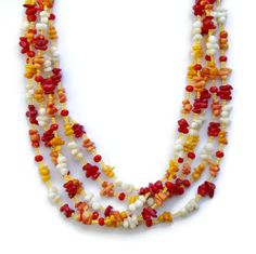 Colorful Red Yellow Orange Coral Necklace Extra by ALFAdesigns #Google #ATsocialmedia #Bing