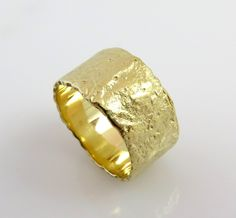 Sale - Unique Wedding band, 14K Yellow Gold ring, Textured Gold ring, Wide Gold band, Rough Ring, Rustic wedding band, Hammered Gold Ring...