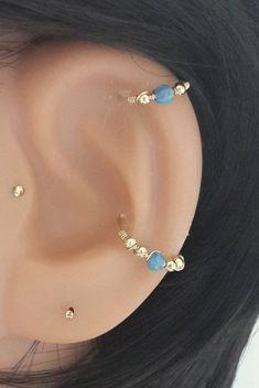 Marine Opal conch piercing gold conch earring by HelenJewelryK