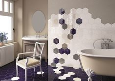 Very unique design using hexagonal shaped porcelain tiles. Very Cool!
