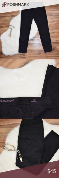 """Black Lilly Pulitzer Skinny Denim Jeans Lilly Pulitzer Skinny jeans - Black - EUC - inseam 28"""" - Size 4 Lilly Pulitzer Jeans"""