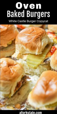 This juicy oven baked burger sliders recipe was inspired by the famous Krystal and White Castle Burgers. These flavorful little cheeseburgers are easy to make in big batches and are guaranteed to disappear in minutes! #ovenburgers #cheeseburgersliders Slider Recipes, Oven Recipes, Burger Recipes, Lunch Recipes, Amish Recipes, Easy Recipes, Healthy Appetizers, Appetizer Recipes, Quick Weeknight Dinners