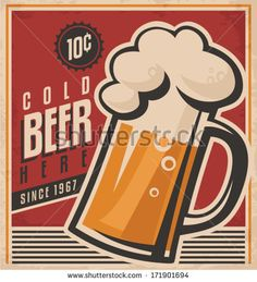 Retro beer vector poster. Vintage poster template for cold beer. Retro label  or…
