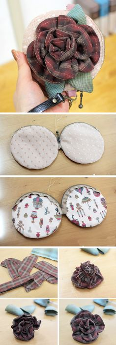Simple handbag: flower appliqué tutorial. DIY tutorial in pictures.  http://www.handmadiya.com/2015/10/flower-bag-idea-sewing.html
