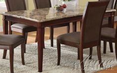 ACME 70070 Granada Brown Dining Table, Cherry Finish by ACME. $566.73. Concave Table design. Brown Marble Top. Tapered legs. The Granada transitional dining collection reflects brown marble stone top, tapered legs and chair back with rectangle cut out.. Save 15% Off!