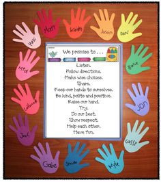 School Rules and Social Contracts Back to school activities: Choose 1 of 4 social contract posters, glue it on construction paper and then glue it to the center of a piece of tag board. Trace children's hands and frame their contract. Kiddos sign their n First Day Of School Activities, 1st Day Of School, Beginning Of The School Year, Preschool Activities, School Rules Activities, Preschool Classroom Rules, Anti Bullying Activities, Diversity Activities, Professor Ingles