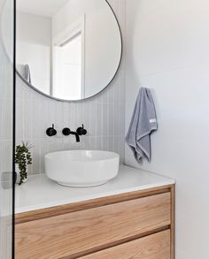 Another shot of one of my recent bathrooms - loved the way this one turned out! White, grey and timber.literally a fail safe combination! Bathroom Renos, Laundry In Bathroom, Bathroom Furniture, Small Bathroom, Round Bathroom Mirror, Bathroom Goals, Bathroom Art, Modern Bathroom Design, Bathroom Interior Design