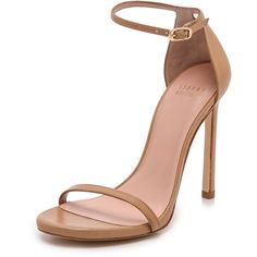 Stuart Weitzman Nudist 110mm Sandals ($400) ❤ liked on Polyvore featuring shoes, sandals, heels, light camel, strap heel sandals, leather strappy sandals, buckle sandals, camel sandals and leather shoes
