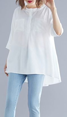 hairstyles Art white cotton top silhouette low high design Midi summer half sleeve shirt you can find similar pins below. We have brought the best of . Half Sleeve Shirts, Shirt Sleeves, Chic Outfits, Fashion Outfits, Mode Hijab, Elegant Outfit, Modest Fashion, Blouse Designs, Designer Dresses