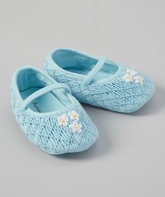 Look at this Fantaisie Bebes Blue Smocked Flower Booties on #zulily today!