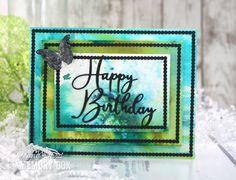 Memory Box dies- Scalloped Stitched Trimmings, Happy Birthday Friendship Script, Morning Garden Butterflies