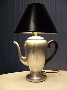 Repurposed Vintage Coffee Pot Lamp - My Repurposed Life Rescue Re-imagine Repeat - - How to make a repurposed vintage coffee pot lamp. Step by step directions to make a coffee pot lamp from a thrift store coffee pot. Decor, Repurposed Lamp, Rustic Lighting, Lamp, Vintage Coffee Pot, Glass Lamp Base, Vintage Coffee, Lamp Bases, Glass Lamp