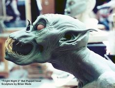 """Here is the Regene Bat Puppet, head sculpture I designed and sculpted for """"Fright Night 2 """" while working for Bart Mixon. #creaturedesign #creature #monsters #vampire #monsterfx #makeupfx #traditionalsculpture #sculpture #frightnight2 #frightnight  #millionaireclayboy"""
