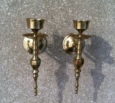 Brass Wall Mounted Candle Holder SCONCES. Gold by RetroStampedRare