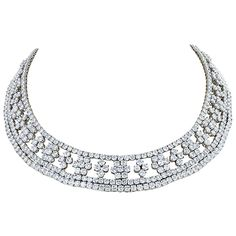 Marcus & Co 90 Carat Diamond Necklace | From a unique collection of vintage choker necklaces at https://www.1stdibs.com/jewelry/necklaces/choker-necklaces/