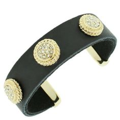 Black Leather Yellow Gold Tone White Crystals Open End Womens Cuff Bracelet Daily Diamond Deal. $19.99. Lowest Price Guaranteed!. 7.5 Long (in Inches). Approx. Width (in Inches): 0.68. Material: Leather, Alloy. Save 20% Off!