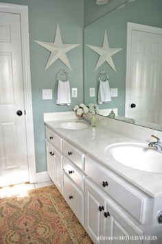 Holiday Ready Room Refresh with BEHR Marquee from At Home with The Barkers Beach House Bathroom, Beach Theme Bathroom, Beach Bathrooms, Small Bathroom, Bathroom Green, Beachy Bathroom Ideas, Beach Theme Kitchen, Coastal Bathroom Decor, Bathroom Hacks