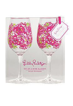 Lilly Pulitzer® Acrylic Set of 2 Wine Glass Lucky Charms Green #belk.com #home