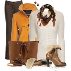 Mustard Brownish Outfit, created by ccroquer on Polyvore