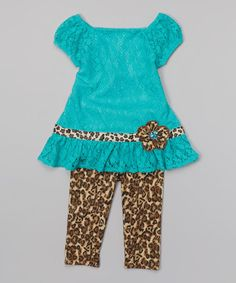 Love this Teal Lace Tunic & Leopard Leggings - Toddler & Girls by Youngland on #zulily! #zulilyfinds