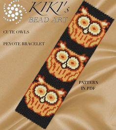 Pattern, peyote bracelet - Owls peyote beaded cuff bracelet pattern PDF instant download
