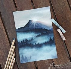 -Misty Mountain My motivation for drawing is back and I finally completed another pastel. I'm so happy with this one ____ -Toison D'Or soft pastels -Faber-Castell Pitt pastel pencils -Copic Markers (only used for the first layers, don't use on top of Past Art Pastel, Pastel Artwork, Soft Pastel Drawings, Drawing With Pastels, Guache, Cool Ideas, Art Design, Art Plastique, Cool Drawings