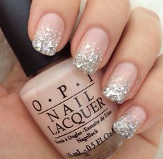 Light Pink Silver Glitter Ombre Nail