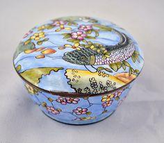 Enamel Koi Fish Floral Enameled Hinged Box Home Decor Trinket Pill Jewelry Box.