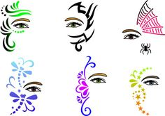 EyeSplash Trendy Tribal Stencil Regular Set 2 Silly Farm Supplies Inc Face Painting Body Painting Airbrush Supplies Arty Brush Cakes Rainbow Cakes Clown Supplies Adult Face Painting, Face Painting Stencils, Eye Painting, Face Painting Designs, Painting For Kids, Paint Designs, Paint Stencils, Stencil Designs, Airbrush Painting