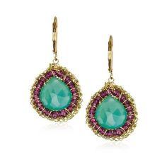 """Eva Hanusova """"Cocoon"""" Chalcedony Garnet Crochet Earrings ($143) ❤ liked on Polyvore featuring jewelry, earrings, accessories, orecchini, blue earrings, garnet dangle earrings, blue jewelry, blue chalcedony jewelry and long earrings"""