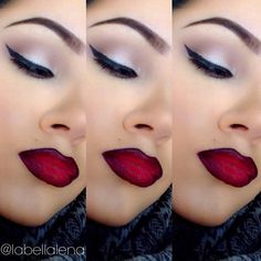Chola makeup @labellalena - black winged liner, black lined red lips, high arched thin brows
