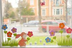 Frühling-Spring-Ostern-Fensterbild-Fensterdeko-Fenster-Dekoration-Pastell-Blumen-Stanzer-einfach-kleben-Cardstock-Papier-Blumenwiese