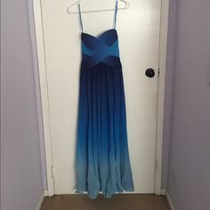 BCBG MaxAzria ombré blue prom dress XS Only worn once in 2012. Brand new. No stains. Gorgeous. Willing to share many more pictures. Size XS. BCBGMaxAzria Dresses Prom