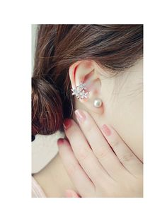 Korean fashion trend wild sweet five leaves crystal flowers without pierced ear clip U-shaped ear clip earrings section studs - Taobao Taiwan, omnipotent Taobao